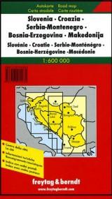 Auto karta Slovenia, Croatia, Serbia, Montenegro, BIH, Macedonia